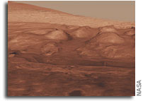 Oblique view of the lower mound in Mars' Gale Crater